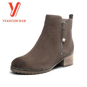 意尔康女鞋2017 冬季复古女士短筒靴时尚粗跟真皮短靴子女靴