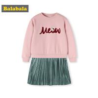 巴拉巴拉儿童裙子2018新款冬季女大童连衣裙时尚韩版加绒百褶裙女