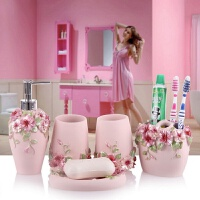 浴室用品套装现代树脂卫浴五件套新婚套装欧式浴室用品创意牙具洗漱套件漱口杯