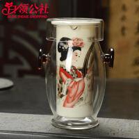 白领公社 泡茶器 玻璃茶具红茶杯耐热耳杯过滤茶壶青花陶瓷家用茶具配件