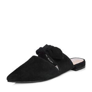 BASTO/百思图2018春季专柜同款羊绒皮蝴蝶结尖头方跟女凉拖鞋RIO01AT8