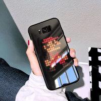 三星s8手机壳女s8+玻璃外壳硅胶防摔套男女款个性创意超薄潮牌高