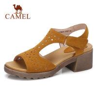 camel 骆驼真皮高跟鞋女 2018夏新款粗跟镂空洞洞原宿凉鞋 鱼嘴罗马鞋子