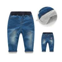 女童牛仔裤秋冬装夹棉加厚1-3岁5小童外穿婴儿保暖裤子女宝宝棉裤