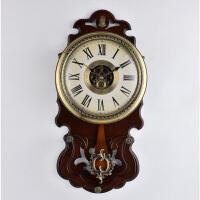 实木挂钟创意客厅透视时钟 中式现代简约钟表欧式石英钟 CR1813 其他