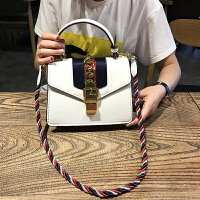 明星同款包包2018新款彩绳手提女包酒神包时尚锁扣单肩斜跨小方包SN7206