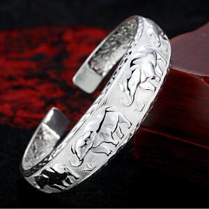 莉翠行 银手镯女款宽面瑞象浮雕银镯子 S999民族风足银镯子