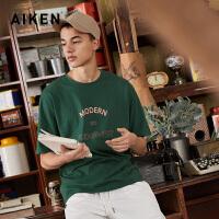 【一件三折】森马旗下品牌aiken爱肯2019新夏装潮T恤男国潮半袖T恤ins绿色