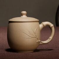 宜兴紫砂杯原矿本山段泥盖杯竹叶泡茶杯定制刻字圆竹杯 圆竹杯