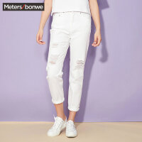 【2件4折到手价:75.6】美特斯邦威牛仔裤女 夏装MTEE白色牛仔裤246924商场同款