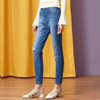 【全场2件2.5折,到手价:43.8】美特斯邦威春装新款高腰破洞打底裤女显瘦牛仔长裤潮商场款