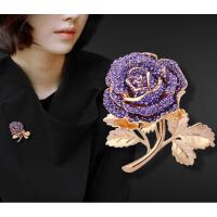 气质紫玫瑰胸针女胸花配饰别针毛衣西装披肩扣饰品送女友爱人生日礼物