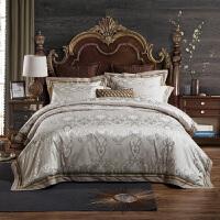 欧式家纺婚庆贡缎提花床上用品全棉床单绗缝夹棉床盖纯棉四件套 1.8m床 被套220*240 床盖250*270