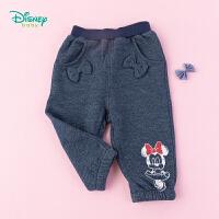 【99元3件】迪士尼Disney童装 女宝仿牛仔抓绒长裤立体蝴蝶节装饰裤子可爱米妮印花193K889