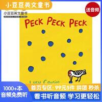 #小豆豆英文童书 Peck Peck Peck 笃笃笃 英文原版绘本 小鼠波波同作者Lucy Cousins 洞洞书策
