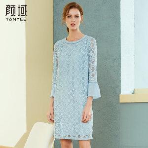 颜域品牌女装2018春秋季新款蕾丝连衣裙喇叭袖镂空直筒中长款裙子