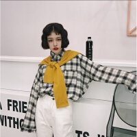 春韩国学院风B宽松衬衣格子假两件披肩长袖衬衫女学生潮 均码