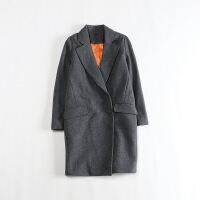 秋冬中长款毛呢外套 暗扣茧型韩版显瘦加厚羊毛大衣K