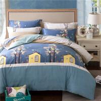 水星家纺磨毛四件套全棉秋冬加厚保暖被套纯棉1.8m米床上用品 蓝色 梦幻屋