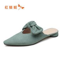 【红蜻蜓品牌特卖-领�患�100】Angelababy同款红蜻蜓女鞋夏季新款羊绒皮尖头时尚凉拖鞋
