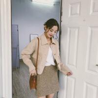 双面仿羊绒大衣女短款2018秋冬新款双面小个子学生韩版ins毛呢外套 均码