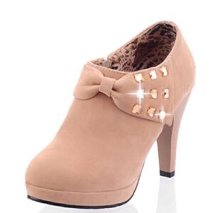 WARORWAR法国新品YG10-C-8冬季欧美反绒粗跟高跟水钻女士靴子切尔西靴裸靴