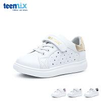 百丽天美意teenmix童鞋18新款镂空小白鞋儿童运动鞋男女童户外休闲鞋中童板鞋 (5-12岁可选) DX0309