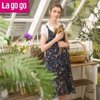 【5折价149.5】Lagogo/拉谷谷2018年夏季新款时尚气质女吊带连衣裙HALL103G96