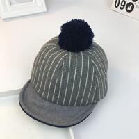 秋冬季宝宝帽子韩版毛呢条纹鸭舌帽儿童毛球保暖棒球帽潮1-2-4岁 灰色 条纹 均码