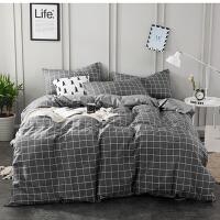 四件套简约黑色条纹床笠被套1.5m1.8m床上用品床单三件套