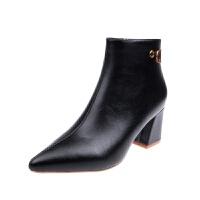 高跟鞋子女2018新款女鞋冬尖头网红短靴女细跟加绒马丁靴瘦瘦靴子