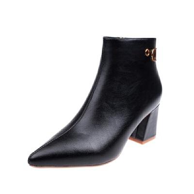 高跟鞋子女2018新款女鞋冬尖头网红短靴女细跟加绒马丁靴瘦瘦靴子   走进大自然的怀抱,美丽从这里起步。