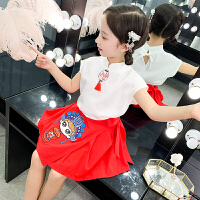 女童套装裙夏装网红唐装汉服中国风儿童小女孩复古裙子两件套