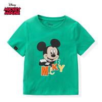【99元3件】迪士尼米奇米妮系列童装男童夏装2020春夏新品短袖印花T恤绿色