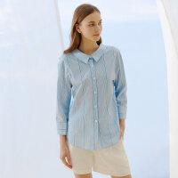 【5.16-5.17日抢购价:75】纯棉MECITY女装夏季新款设计感很仙的条纹衬衫