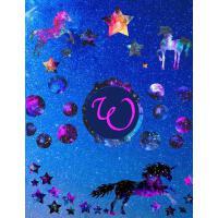 【预订】Starry Unicorns Notebook Monogram Series W: College Rule