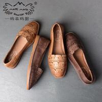 玛菲玛图休闲鞋子女2017新款平底单鞋百搭方头浅口气质优雅韩版学生瓢鞋826-12秋季新品