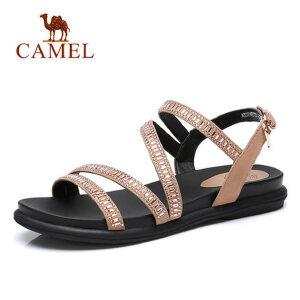 骆驼2018 夏季新款港味网红凉鞋女ulzzang原宿复古风平底坡跟女鞋