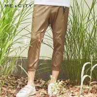 【1件2.5折到手价:96.3】MECITY男装男士纯色挂饰慢跑九分休闲裤