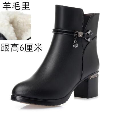 秋冬女鞋2018新款高跟短靴羊毛靴子短筒女靴中跟加绒妈妈棉鞋 黑色(中跟羊毛里) 跟高6厘米