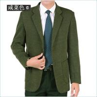 春秋季厚款中年男士西装宽松加大码外套商务休闲爸爸男装毛呢西服
