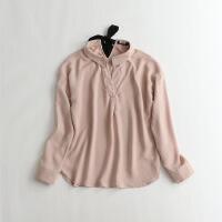 秋款女长袖雪纺衫 宽松韩版显瘦气质丝带简约衬衫22B