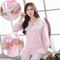 春夏季薄款纯棉纱布月子服长袖孕妇睡衣春秋大码哺乳衣产后喂奶衣