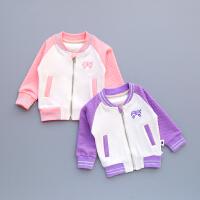 春季女童外套拼色袖宝宝拉链衫开衫粉红色棒球服长袖上衣紫色