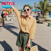 【1件3折:83元】韩都衣舍2019韩版女装夏装新款休闲chic蝙蝠袖七分袖衬衫NG9853�S