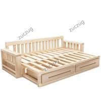 zuczug伸缩实木沙发床多功能两用小户型客厅单人双人简约推拉两用储物床 2米以上