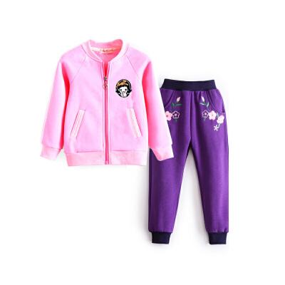 女童运动套装 宝宝棒球服外套长裤两件套春秋装儿童装