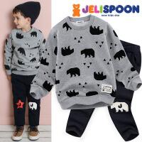 韩国童装Jelispoon2017冬季新款男童女童两件套北极熊加绒卫衣套装