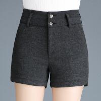 冬高腰大码弹力宽松显瘦中年女士西装休闲加厚毛呢短裤外穿妈妈裤