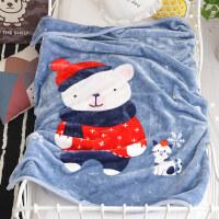 儿童毛毯加厚冬季用珊瑚绒毯子女婴儿宝宝午睡盖毯保暖床单小被子 110*140cm(双层加厚 约2.2斤)